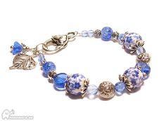 Armband i blått och antiksilver