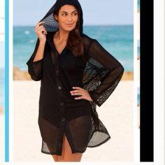 For @lawnda Black mesh button down cover up size 22/24. Black tummy control one piece suit size 20. Swim