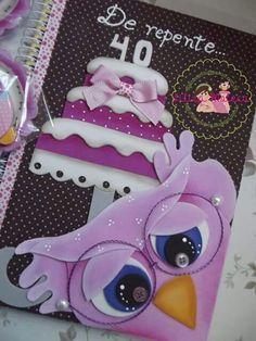 Caderno coruja bolo