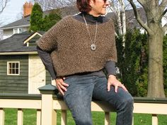 Chris Knits in Niagara: Asymmetric Wrap Poncho - chunky yarn in garter stitch with short rows