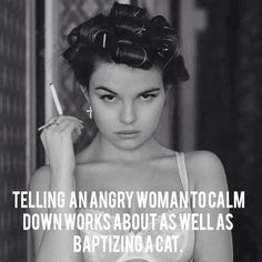 Telling an angry women to calm down works about as well as baptizing a cat E-mail Marketing, Content Marketing, Thats The Way, That Way, Cat Quotes, Funny Quotes, Life Quotes, Quotable Quotes, Mood Quotes