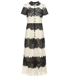 REDValentino - Lace maxi dress - REDValentino's maxi dress comes in a bold monochrome colour-block design. A framing collar adds preppy detail, while the floral lace feminises the style with springtime allure. seen @ www.mytheresa.com