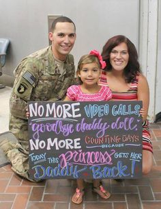 This is what it's all about! This little princess got her daddy back today! Military Homecoming Sign / Homecoming Board / Chalkboard / Deployment / Kids Sign / Goodbye Daddy Doll / Charleston Chalk Chick / to order or see more visit www.facebook.com/charlestonchalkchick or email charlestonchalk@gmail.com