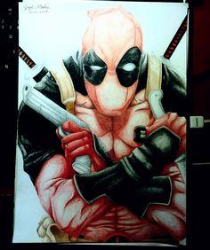 ►Deadpool Speed Drawing ◄ League Of Legends, Deadpool, Art Drawings, Superhero, Watch, Painting, Fictional Characters, Clock, League Legends