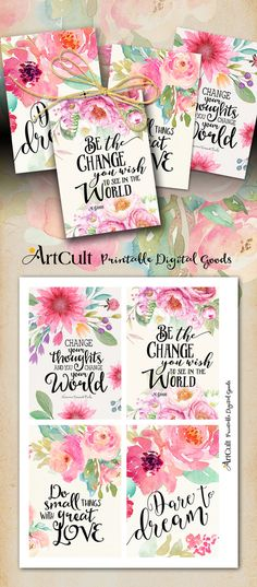"Printable MOTIVATIONAL GREETING CARDS No.3 digital download 3.5""x5"" size images hand-painted flowers typography art for decoration and craft"