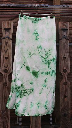heder / silk carf_hodvábna šála 180x45cm batika green Silk, Green, Prints, Silk Sarees