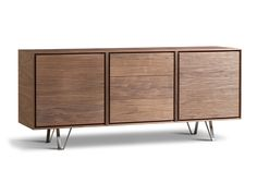 Sideboard made of Canaletto walnut with steel legs, two doors and three drawers. design by MAAM
