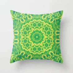 mystic mandala in green and yellow by Wendy Townrow on Society6
