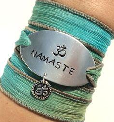 Namaste Silk Wrap Bracelet Yoga Jewelry by BohemianEarthDesigns, $38.95