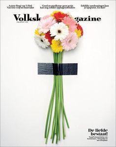 Volkskrant Magazine, bouquet, fleur, couv, vert, blanc, tige, typo