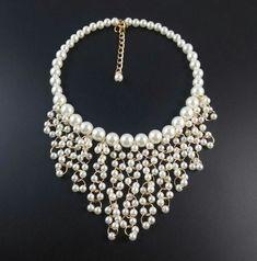 Diy Jewelry Necklace, Pearl Jewelry, Wire Jewelry, Jewelry Crafts, Wedding Jewelry, Jewelry Sets, Beaded Jewelry, Jewelery, Beaded Necklace