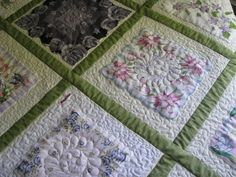 They make wonderful keepsake quilts. This is one of my customers quilts. Quilting Projects, Quilting Designs, Quilting Ideas, Handkerchief Crafts, Vintage Quilts, Vintage Linen, Keepsake Quilting, Embroidered Quilts, Vintage Handkerchiefs