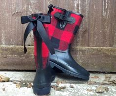 Custom Red and Black Plaid Rain Boots with by PuddlesNRainBows