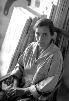 Taos, New Mexico artist Agnes Martin (1912-2004) photo by Mildred Tolbert, ca. 1954 Martin became famous for her spare, nearly monochromatic grid paintings.