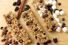 Three easy recipes for No Bake, Chewy Granola Bars (just like Quaker!): chocolate chip/peanut butter chip, s'mores, and oatmeal raisin.
