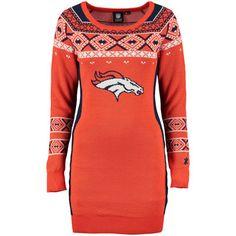 Women's Denver Broncos Klew Orange Big Logo Ugly Sweater Dress