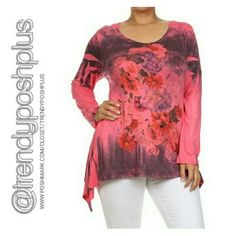 Asymmetrical Long Sleeve Tunic Top Floral tie dye print.  Polyester 63% Rayon 33% Spandex 4%  Made in USA Tops Tunics