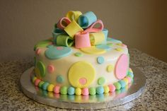 Polka dots, balls and bows!  Baby Shower - good for gender-reveal party!  found on cakecentral.com