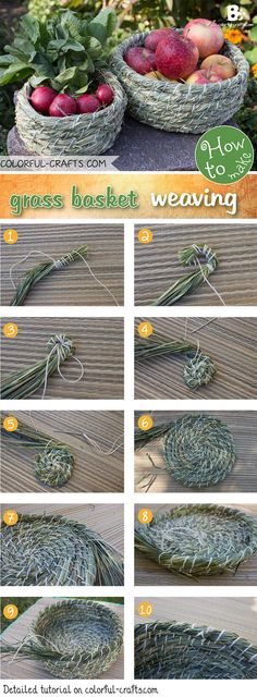 There are many ways to grass basket weaving. This simple technique is just one of many. Learn how to make your own grass basket with a step by step tutorial Weaving Projects, Weaving Art, Paper Basket Weaving, Weaving For Kids, Pine Needle Baskets, Color Crafts, Pine Needles, Nature Crafts, Grass