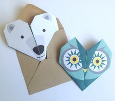 origami notelets and envelopes  - animals - great to say thank you