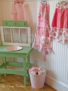"""Pretty Aprons & Cottage Decor!:) I've got the material... now 2 find """"The Time""""!:)"""