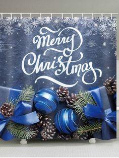 Christmas Gifts Balls Print Waterproof Bathroom Shower Curtain - multicolor X INCH Bird Shower Curtain, Cheap Shower Curtains, Bathroom Shower Curtains, Christmas Balls, Christmas Crafts, Merry Christmas, Christmas Bathroom, Shower Accessories, Happy Holidays