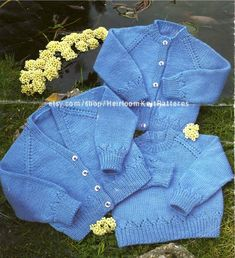 Baby Cardigans Sweater Vintage Knitting Pattern DK 4Ply | Etsy Baby Cardigan Knitting Pattern Free, Knitted Baby Cardigan, Baby Knitting Patterns, Baby Patterns, Baby Jumper, Vintage Crochet Patterns, Vintage Knitting, Baby Sweaters, Creations