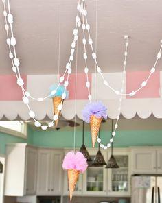 tulle ice cream scoops in real ice cream cones!