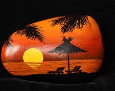 Painted Rock/Stone - sun tropical beach scene, caribbean