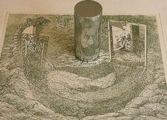 Anamorphic drawings by Istvan Orosz