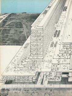 Instead of Vertical Cities, should we be thinking about Linear Cities is part of - Time for another another look at a linear city by Michael Graves and Peter Eisenman, before they were famous Architecture Graphics, Architecture Drawings, Interior Architecture, Infrastructure Architecture, Michael Graves, Masterplan, Vertical City, Architectural Section, Retro Futurism