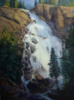 IHidden Falls Wyoming by Rusty Jones Oil ~ 24 x -