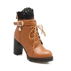 Back Zipper with Lace and Heel Boots - Daisy - - Shoes, Women's Shoes, Women's Boots # # High Heel Boots, Heeled Boots, Bootie Boots, Shoe Boots, Women's Boots, Comfortable Work Shoes, Above Knee Boots, Sneaker Heels, Toe Shape