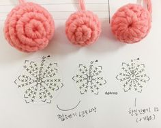 How to Crochet Puff Stitch Flower (treble crochetOrganic Origami: How to make a liner for your kitchen container Crochet Instructions, Crochet Diagram, Crochet Chart, Freeform Crochet, Crochet Motif, Irish Crochet, Crochet Stitches, Crochet Leaf Patterns, Crochet Leaves