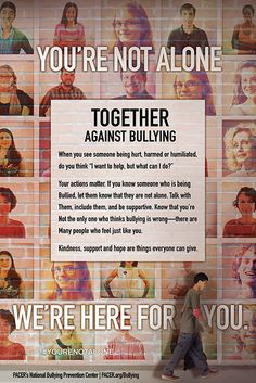 Together we can create a world without bullying! The kit is designed so that anyone can set up a display with print resources to educate and engage students in conversation about steps each of us can take toward preventing bullying. Bullying Prevention, Youre Not Alone, Student Engagement, Together We Can, Knowing You, Thinking Of You, It Hurts, Classroom, Let It Be