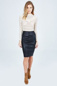 The Scoop Skirt by Pinko is the perfect leather skirt you have been looking for. Pair with a blouse and sky heels to complete the look.