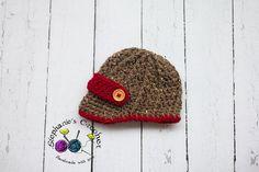 Crochet Newborn boy newsboy hat visor brim hat by Stephyscrochet, $22.00