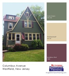 Inspiration: Westfield Tudor in green, burgundy & cream. Colors: Avon Green, Bordeaux Red, Pittsfield Bluff. Painted by Rutgers Permanent Painting