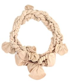 Nude,twisted,collar,with,petals,handmade jewellery, designer jewellery, tights jewellery