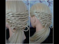 Rope Twist Braid With A Bow Platt/ Hair Tutorial hairstyles - YouTube