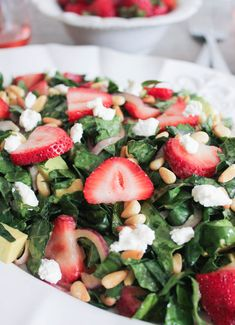 So Yum! Summer-Kale-Salad-with-Strawberries-Avocado-Pine-Nuts-and-Goat-Cheese