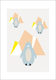 Penguin poster Arctic night Pink by Lilys Island