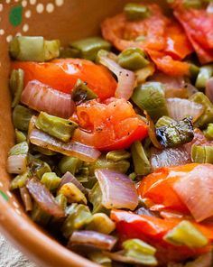 Nopalitos with Tomatoes and Onions ~ Nopalitos, chopped prickly pear cactus paddles sautéed with onions, garlic, jalapeno, and tomatoes. ~ SimplyRecipes.com