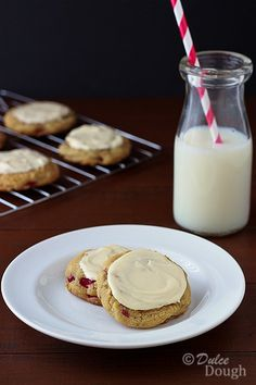 Rhubarb Cookies with Cream Cheese Frosting- substituted craisins for rhubarb and apricut puree for eggs -  GREAT egg-free holiday cookies