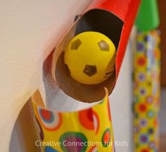 DIY Marble Run or you can use a ping pong ball. Creative Connections for Kids Indoor Activities For Kids, Kids Learning Activities, Science For Kids, Preschool Activities, Games For Kids, Crafts For Kids, Teaching Ideas, Paper Towel Tubes, Creative Connections