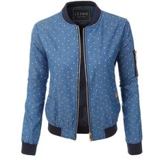 LE3NO Womens Lightweight Slim Fit Polka Dot Bomber Baseball Jacket ($32) ❤ liked on Polyvore featuring outerwear, jackets, slim bomber jacket, slim jacket, bomber style jacket, blue jackets and bomber jacket
