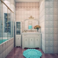 dco salle de bain rtro carrelage mural en rose et bleu carrelage sol marron - Carrelage Sol Bleu Turquoise
