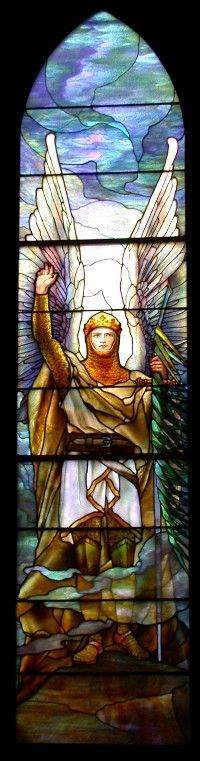 The Archangel Michael lancet is an excellent example of Tiffany's Warrior Angel series of windows. Tiffany Studios, N.Y. 1914 lancet window
