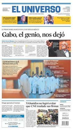 Portada de #DiarioELUNIVERSO del 18 de abril del 2014. Las #noticias de #Ecuador y el mundo en: www.eluniverso.com