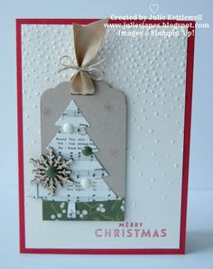 handmade Christmas card by Julie Kettlewell - Stampin Up UK Independent Demonstrator ... tag with collage ... tree die cut from seet music ... wood snowflake ... enamel dots ... satin ribbon tied with twine ...